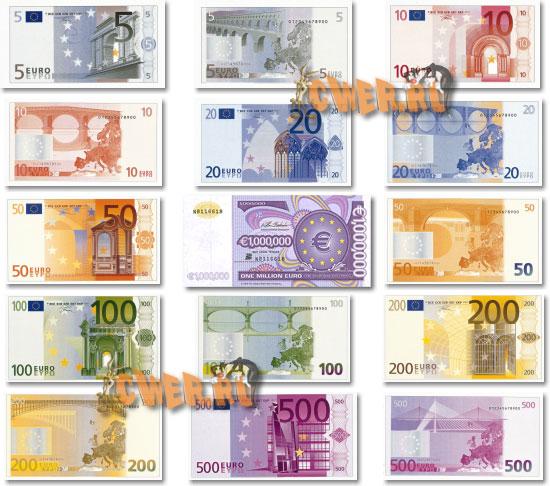 все банкноты и монеты евросоюза креатив
