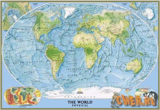 Физическая карта мира от научного