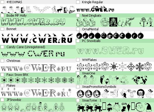 Набор латинских шрифтов на новогоднюю