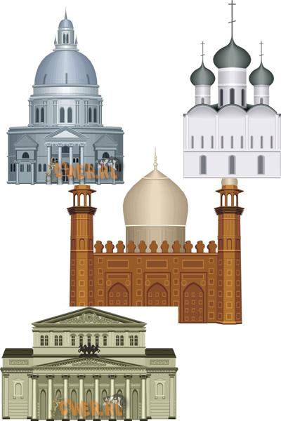 Исторические здания и сооружения - векторный клипарт для Corel