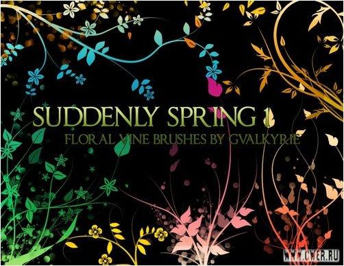 Suddenly Spring 1 Floral Vine Brushes