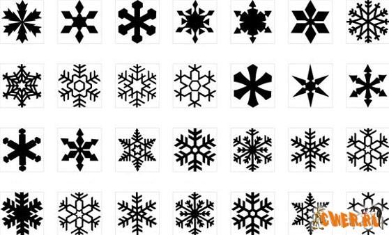 Снежинки - клипарты в формате TIF