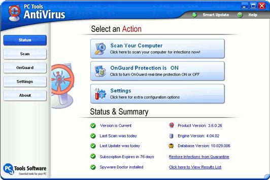 PC Tools AntiVirus Free Edition 3.6.1.7