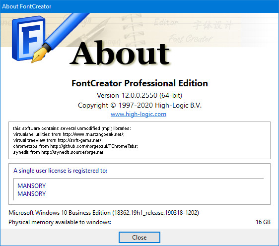 High-Logic FontCreator 12.0.0.2550